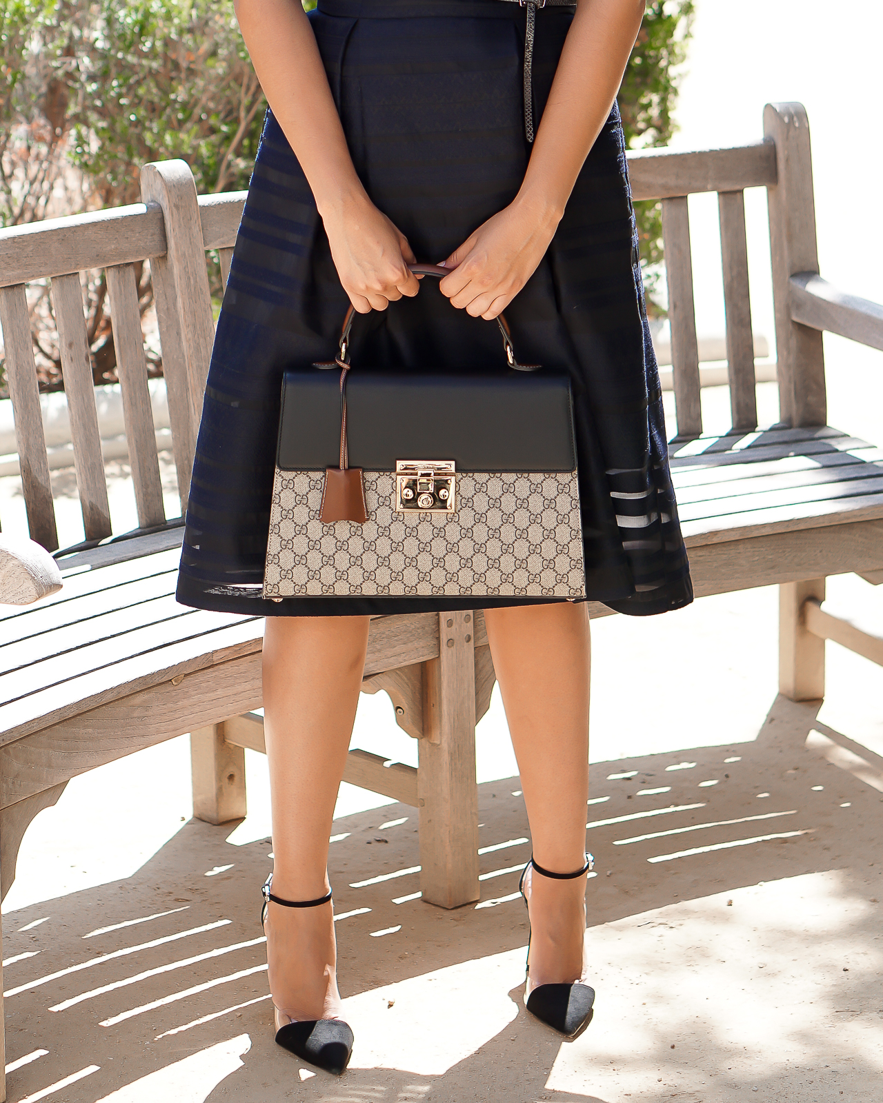 Fashion, Gucci, My Experience with Gucci, Padlock GG Supreme Top Handle bag, Strapless navy Blue H&M Midi Dress, Zara Black cap toe Heels, Designer bag, Luxury Bag, Gucci Bag,