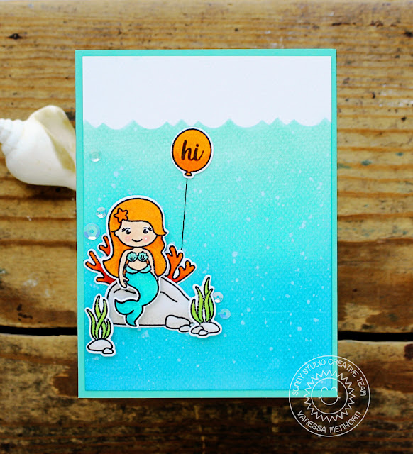 Sunny Studio Stamps: Magical Mermaids Underwater Mermaid Scene Card by Vanessa Menhorn