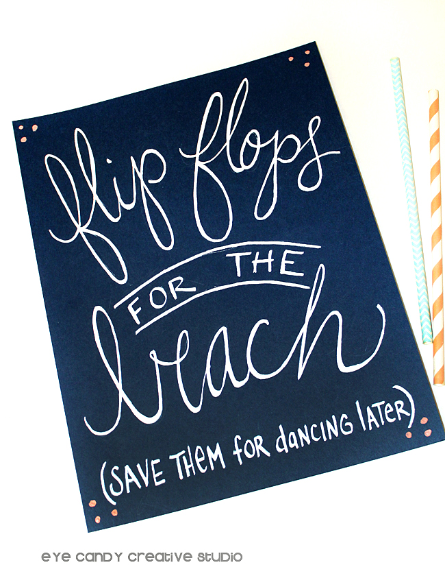 flip flops on the beach, dancing shoes, beach wedding, hand lettering