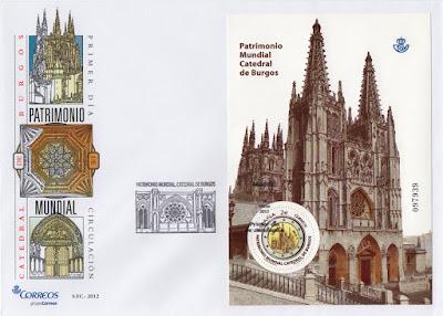 Sobre PDC con la hoja bloque de la moneda de dos euros dedicada a la Catedral de Burgos