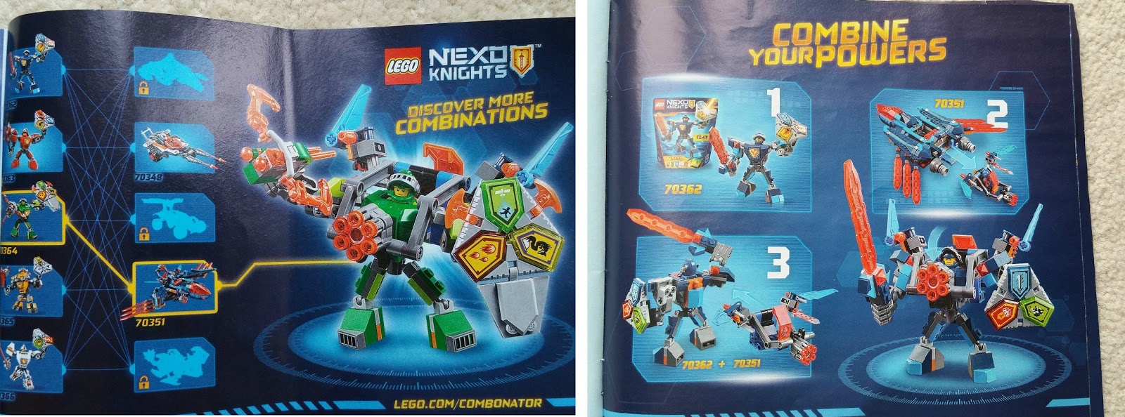 LEGO NEXO KNIGHTS, Battle Suit Aaron, Clay Falcon Fighter Blaster