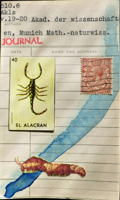 library card mexican lottery card el alacran scorpion caterpillar british postage stamp dada Fluxus mail art collage