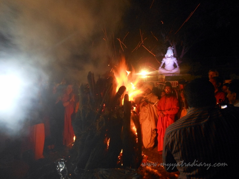 The fire of Holika Dahan on the eve of Holi in Rishikesh, India