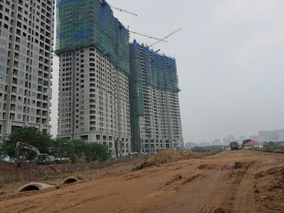 Công trường đoạn đường bao cạnh khu Liền kề ST5 Gamuda