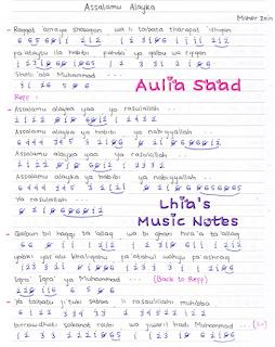 Not Angka Pianika Lagu Maher Zein - Assalamu Alaika