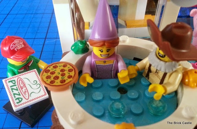 LEGO Series 12 minifigures in jacuzzi pizza guy, prospector and fairytale princess