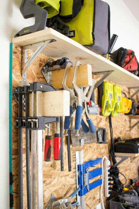 diy garage wall storage wood system clamp rack