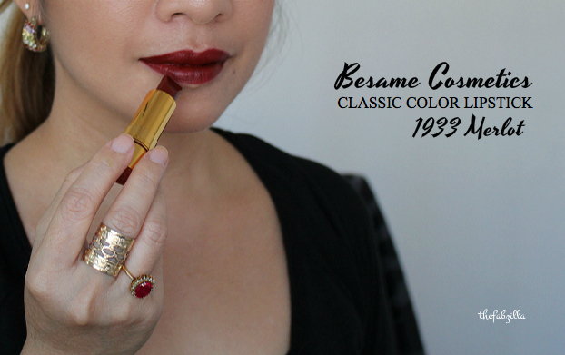 BESAME COSMETICS CLASSIC COLOR LIPSTICK, 1933 MERLOT, REVIEW, SWATCH