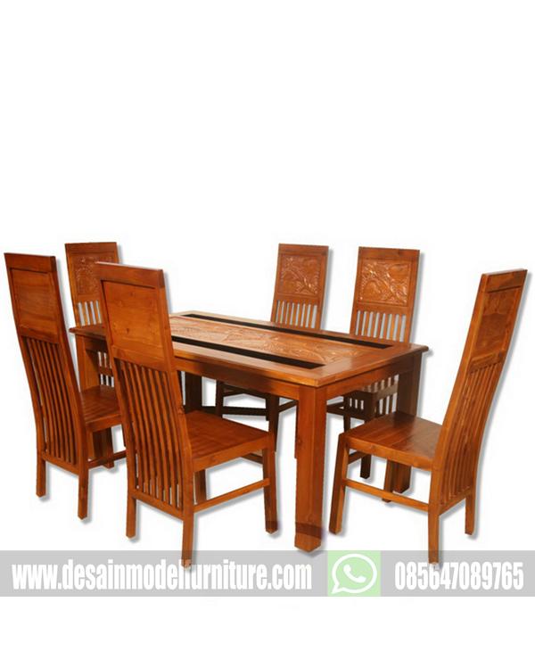 Meja makan restoran minimalis kayu jati jepara