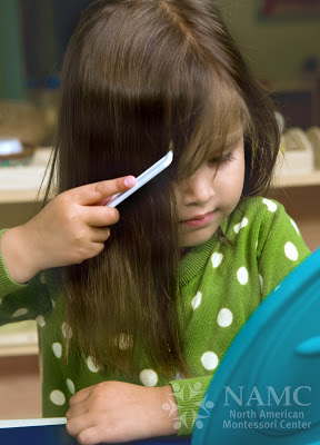 NAMC celebrating montessori week with montessori in our home being a montessori family girl brushing her hair