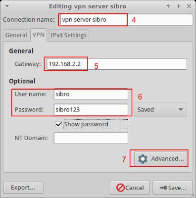 local ip diisi ip server