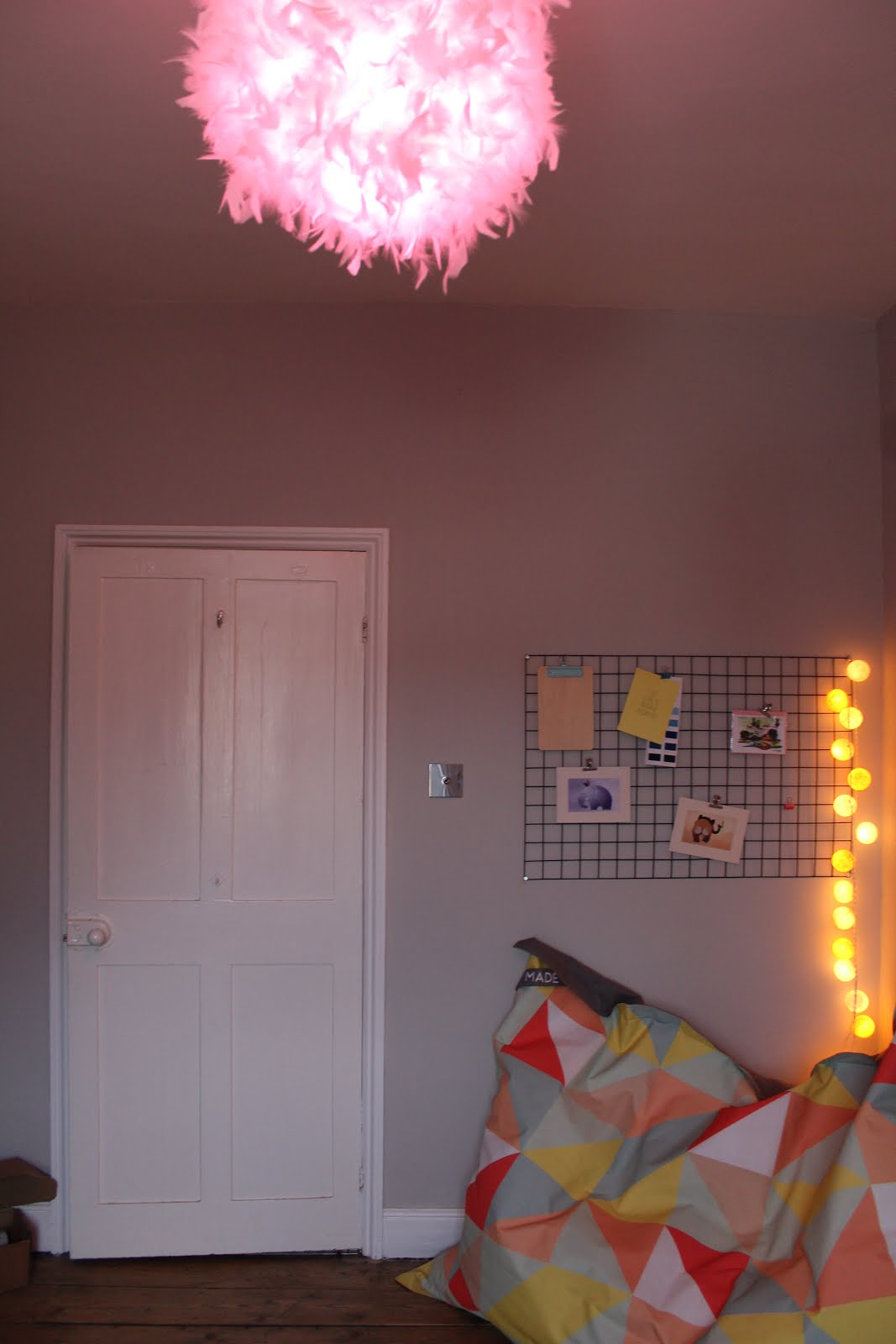Pink Light Bulb in Bedroom