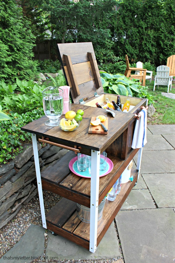 diy grill cart or bar cart side view