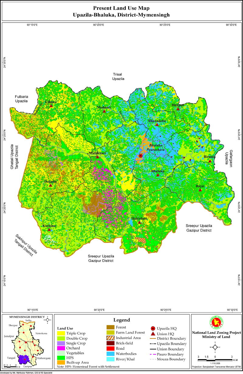 Bhaluka Upazila Mouza Map Mymensingh District Bangladesh