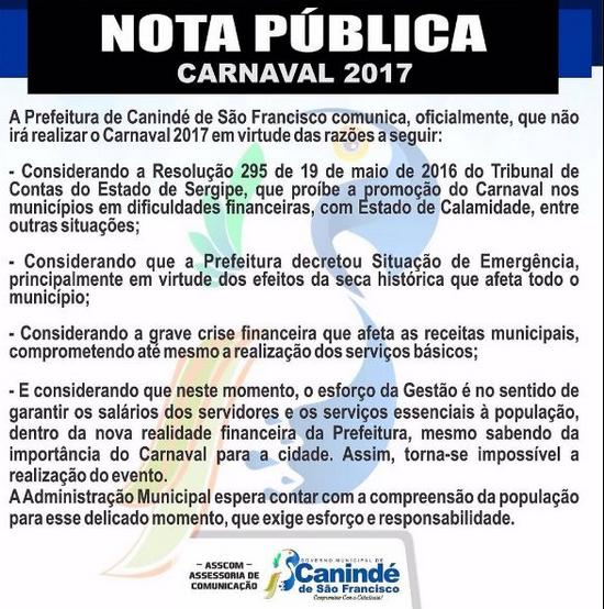 Em NOTA, prefeitura de Canindé  de São Francisco/SE comunica que não irá realizar o Carnaval 2017