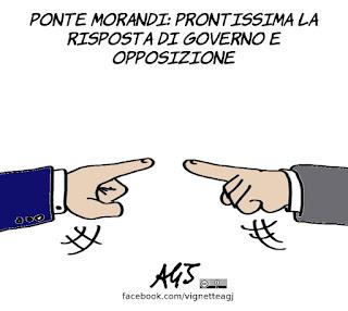 Genova, ponte morandi, crollo, governo, opposizione, infrastrutture, vignetta, satira