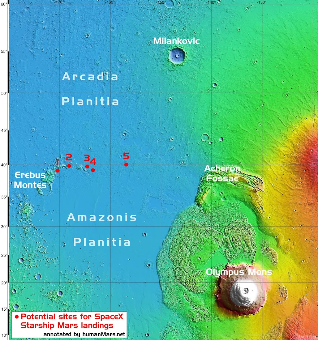 Potential sites for SpaceX Starship Mars landings