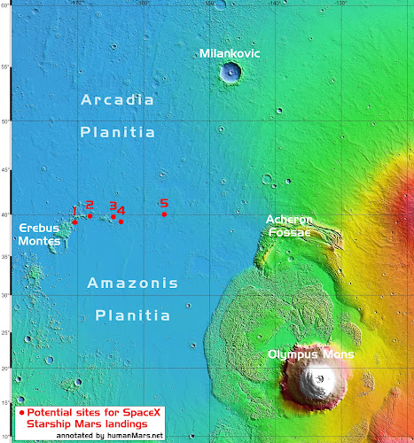 Candidate sites for SpaceX Starship Mars landings revealed