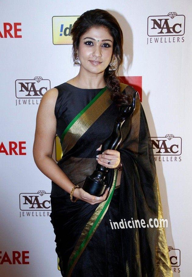 Nayanthara wearing black colour Kotta silk saree with black boat neck blouse