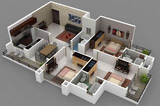 Denah Rumah dengan lahan sempit memanjang 3D (tiga dimensi) & 6 Inspirasi Denah Rumah Minimalis 3 Kamar Tidur 3D (Tiga Dimensi ...