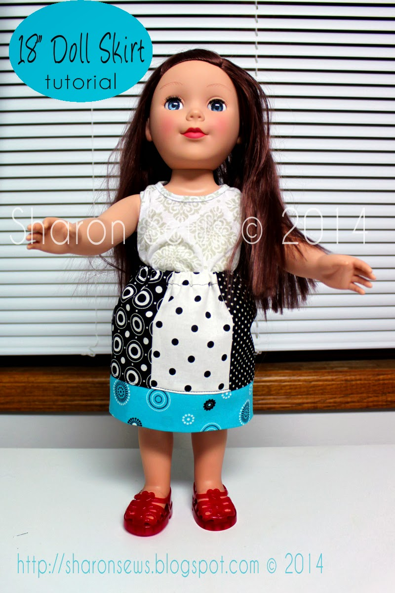 "Free tutorial to sew a skirt for 18"" doll like American Girl"
