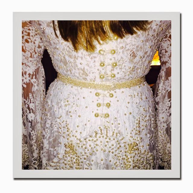 Preta Gil vestido de noiva,  detalhe pérolas
