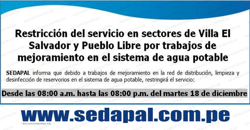 SEDAPAL: Corte de Agua en 2 Distritos de Lima este Martes 18 Diciembre (Villa el Salvador y Pueblo Libre) www.sedapal.com.pe