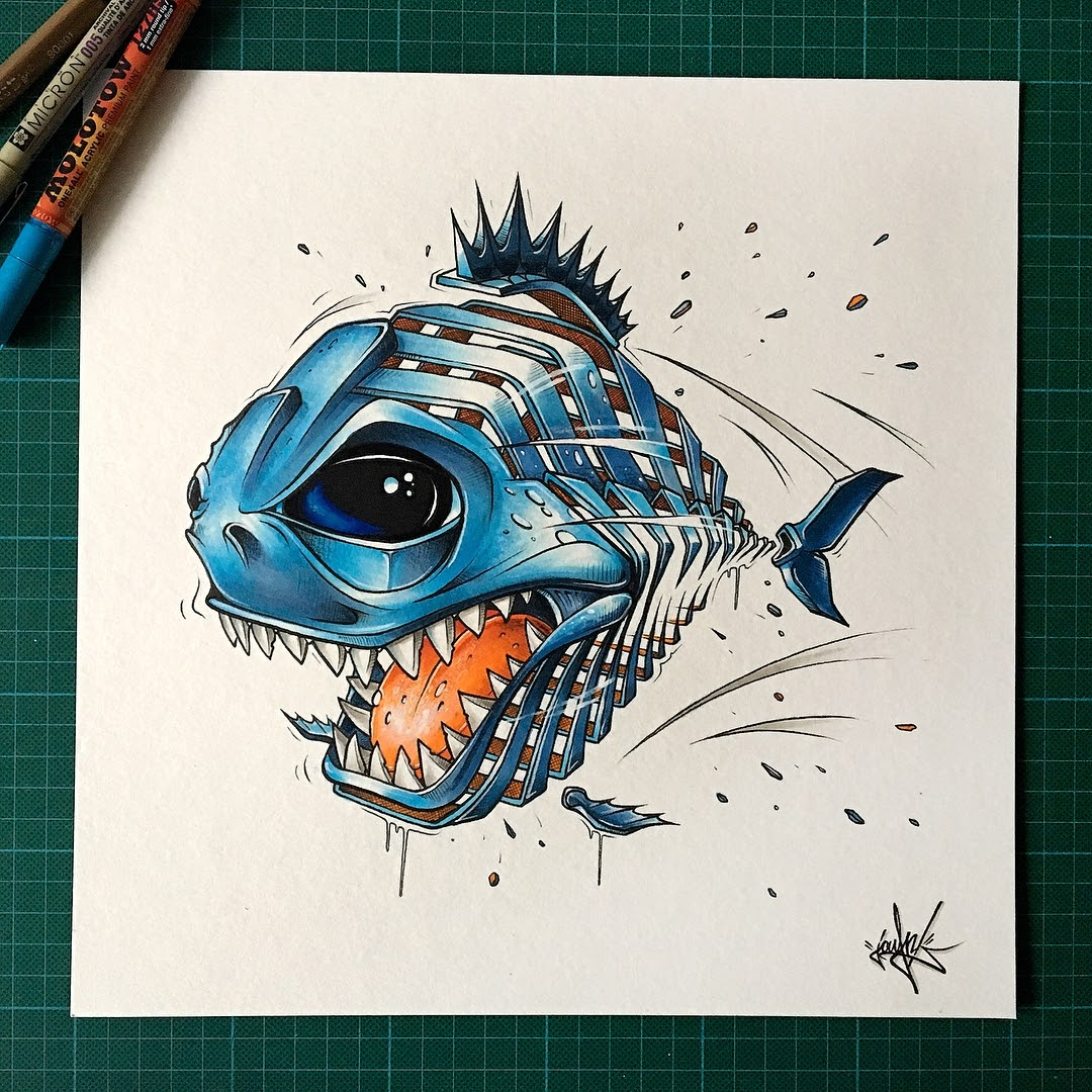 11-Piranha-JAYN-ABS-Crew-Slice-Animal-Portraits-Stylised-Looks-www-designstack-co