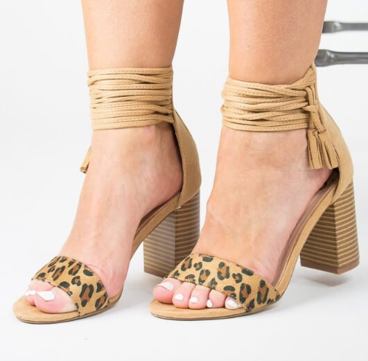 Madison and Mallory ankle wrap heels