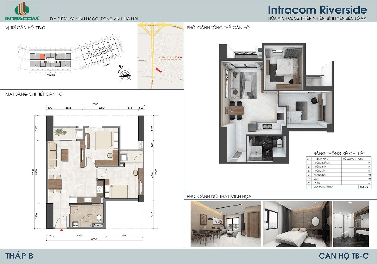 Thiết kế căn 03 - 06 - 57,6m2