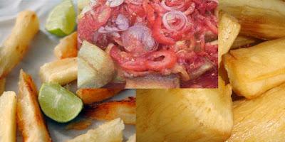 mihogo ya kukaanga na kachumbari(chipsi dume)