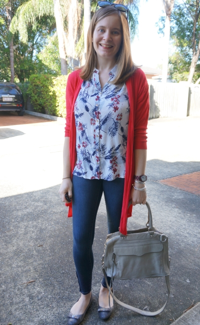 Red cardi, floral tank, skinny jeans: SAHM Spring outfit | AWay From Blue