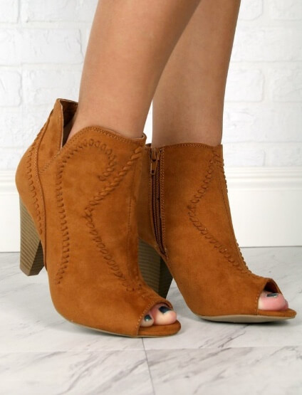 Madison and Mallory embroidered peep toe booties