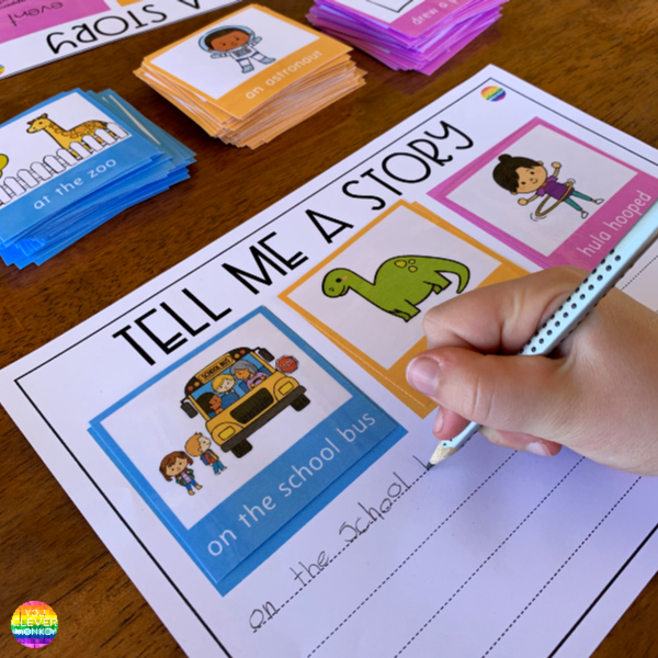 Tell Me A Story Writing Center - get even the most reluctant writers writing with this helpful writing center pack | you clever monkey
