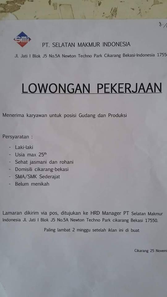 Lowongan Kerja PT. Selatan Makmur Indonesia