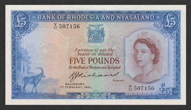 Rhodesia and Nyasaland banknotes images Pounds Queen Elizabeth