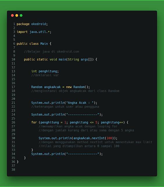 Contoh Program Angka Acak Random  Java