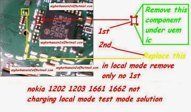 nokia 1202 not charging   in local mode remove only no 1st. Nokia 1202, 1203, 1662 not Charging Local Mode Test Mode Solution. Thanks For Visiting.