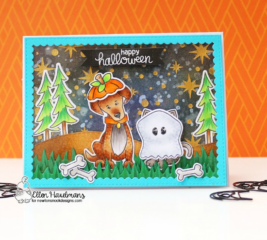 Halloween Costumes Card by Ellen Haxelmans | Newton's Costume Party and Fetching Friendship Stamp Sets Newton's Nook Designs #newtonsnook #handmade