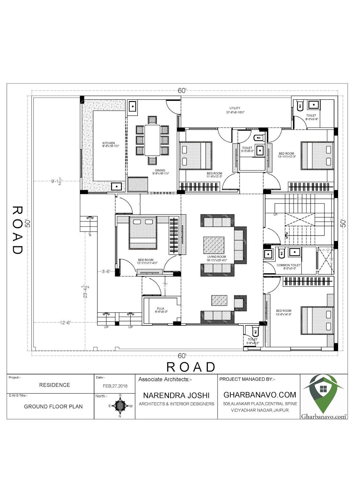 Gharbanavo Com Free House Plan 60 50 Home Maps