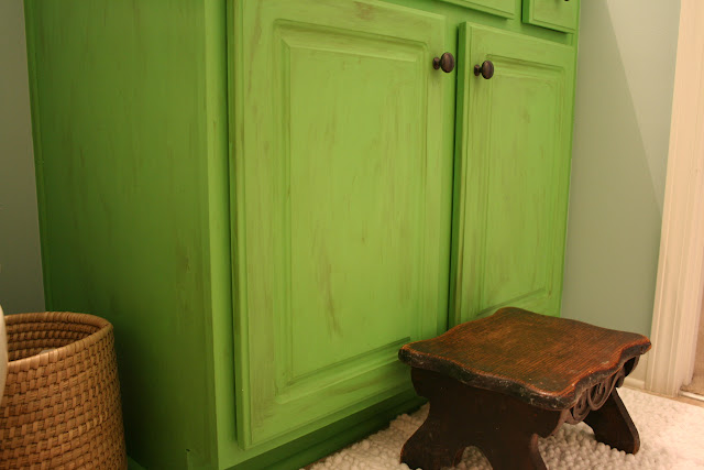 Coastal Bathroom Before and After with Annie Sloan Antibes Green Vanity | The Lowcountry Lady