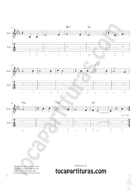 Guitarra Tablatura y Partitura Original de Tutaina Villancico Punteo Tablature Sheet Music for Violin Tabs Music Scores