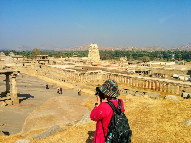 Photographing the Hemakuta and Virupaksha temple complex, Hampi