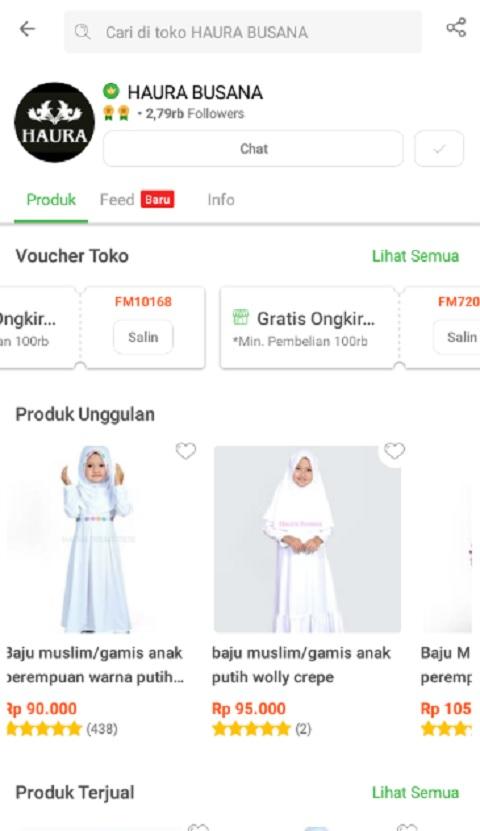 HAURA BUSANA Sebagai Toko Baju Muslim Anak Terlaris di Tokopedia