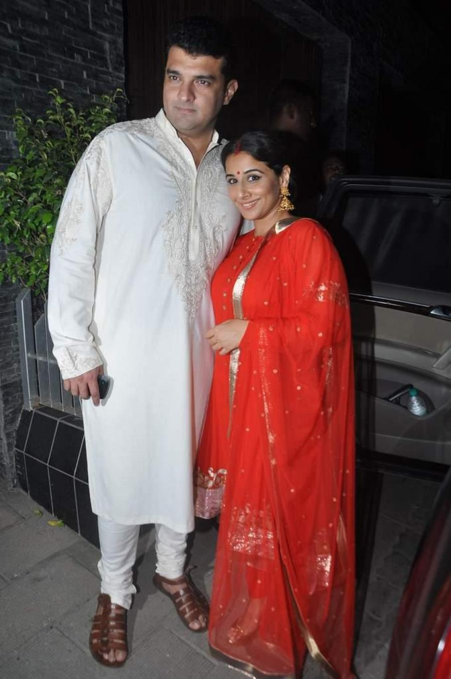 Vidya Balan Family Photos At Diwali Party In Red Dress
