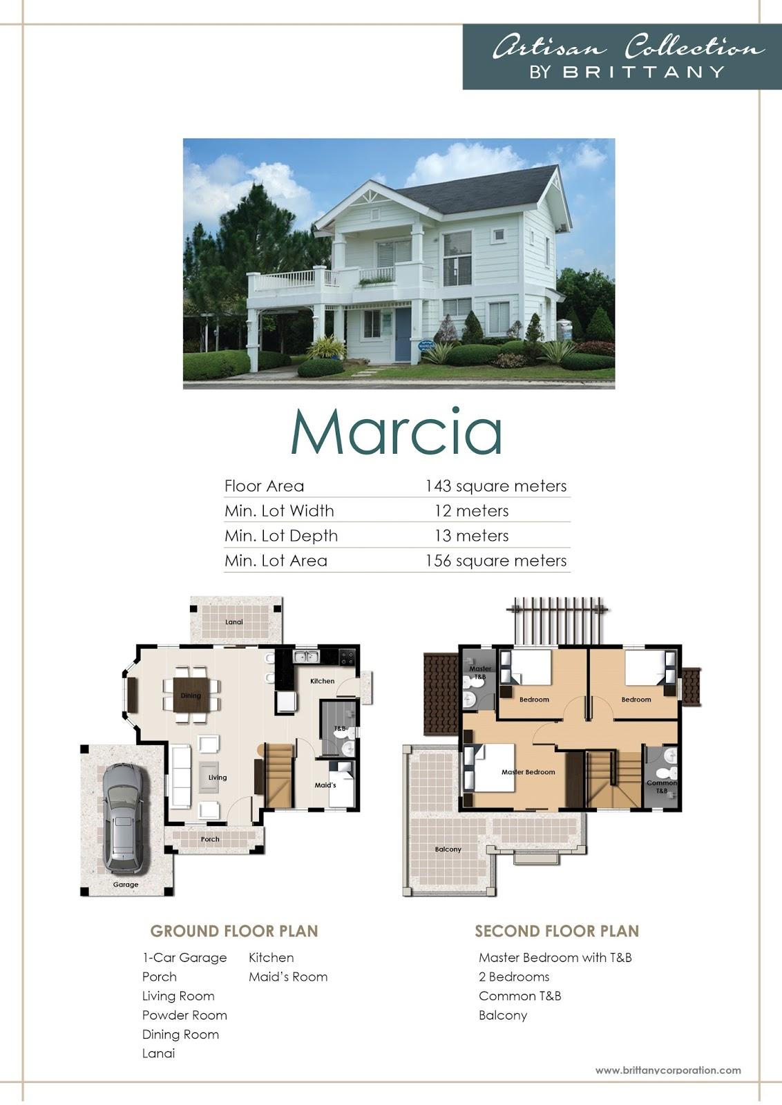 Floor Plan of Marcia Model - Georgia Club | House and Lot for Sale Sta. Rosa Laguna