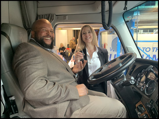 Joseph H. Campbell Jr. behind the wheel of his new Kenworth T680