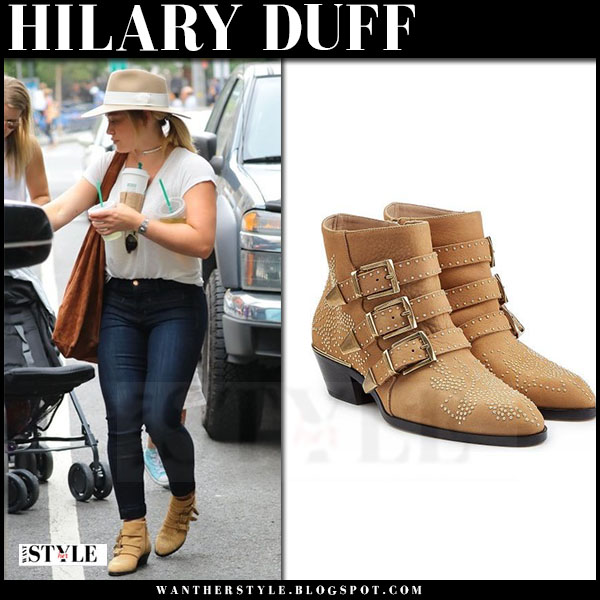 Hilary Duff in camel studded ankle boots Chloe Susanna what she wore