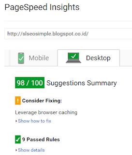 Skor pengujian situs menggunakan desktop
