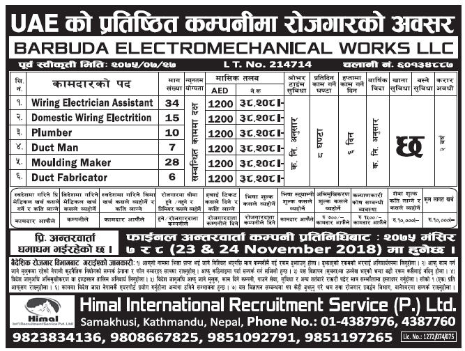 Jobs in UAE for Nepali, salary Rs 38,208